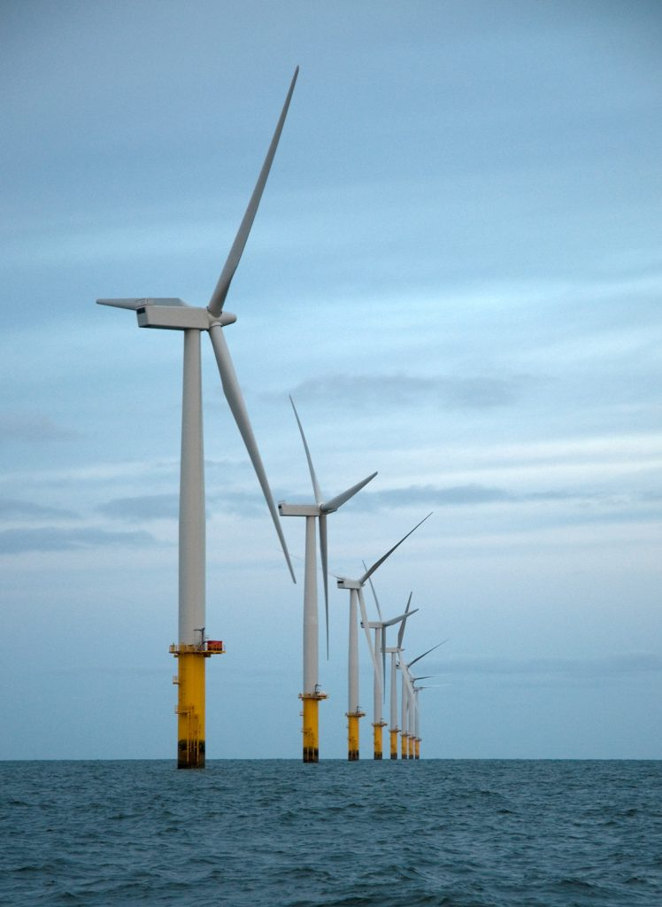 Turbines operating at Rhyl Flats Offshore Wind Farm