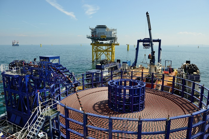 The electrical system connects the offshore array and onshore elements of the project.